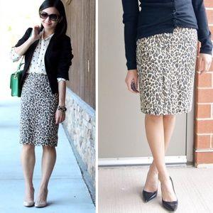 J. Crew Leopard/Cheetah Print Pencil Skirt